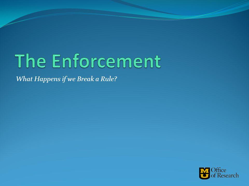 The Enforcement What Happens if we Break a Rule