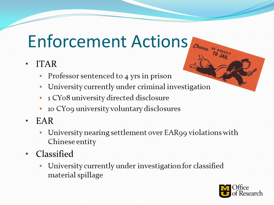 Enforcement Actions ITAR EAR Classified