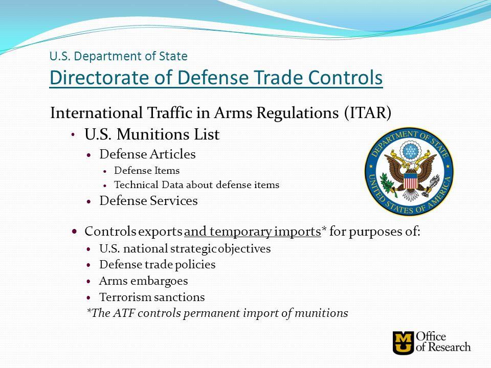 U.S. Department of State Directorate of Defense Trade Controls
