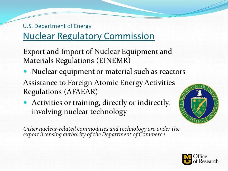 U.S. Department of Energy Nuclear Regulatory Commission