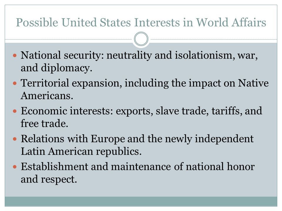 Possible United States Interests in World Affairs