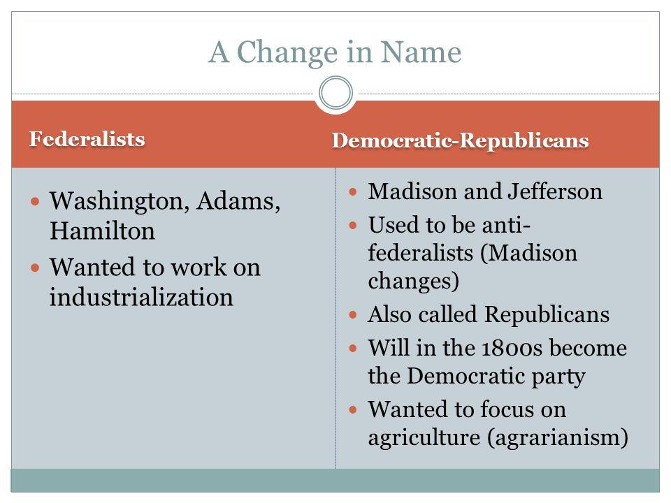 A Change in Name Washington, Adams, Hamilton