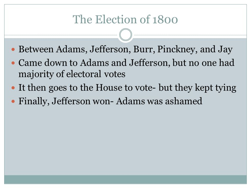 The Election of 1800 Between Adams, Jefferson, Burr, Pinckney, and Jay
