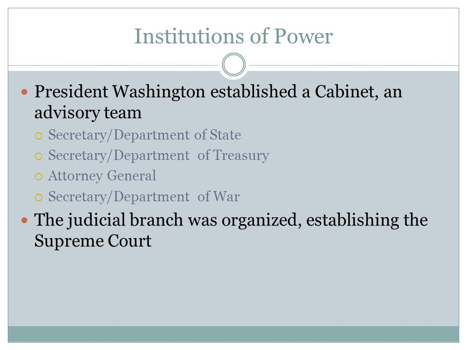Institutions of Power President Washington established a Cabinet, an advisory team. Secretary/Department of State.
