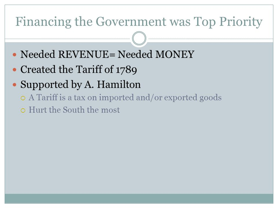 Financing the Government was Top Priority