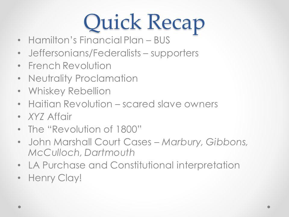 Quick Recap Hamilton's Financial Plan – BUS