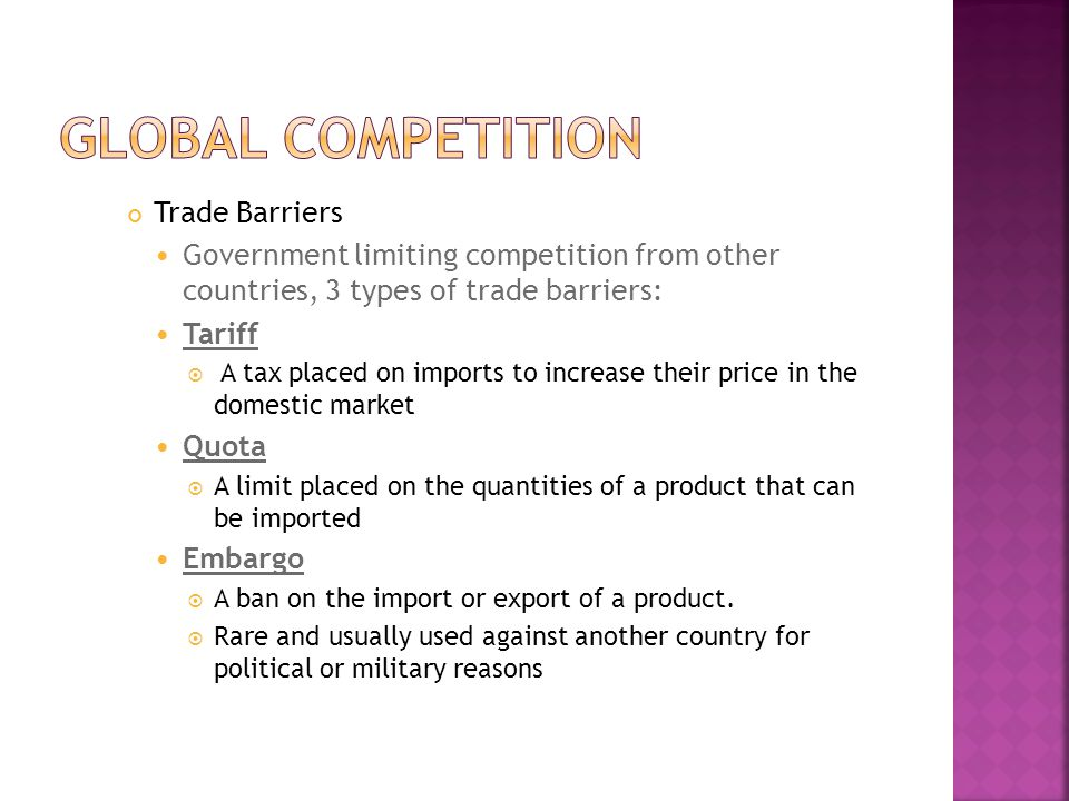 Global competition Trade Barriers