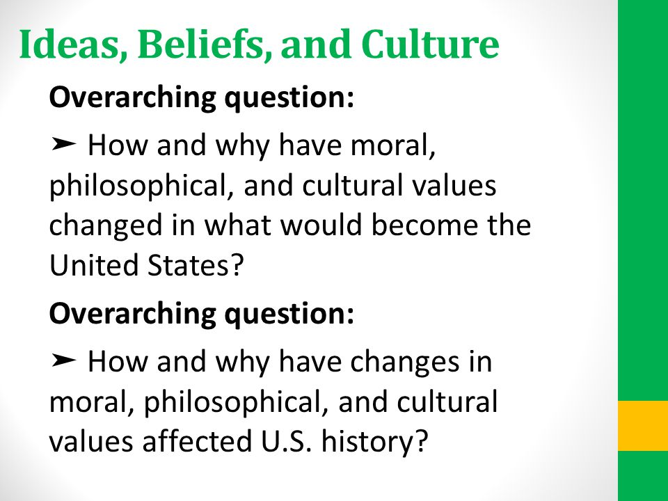 Ideas, Beliefs, and Culture