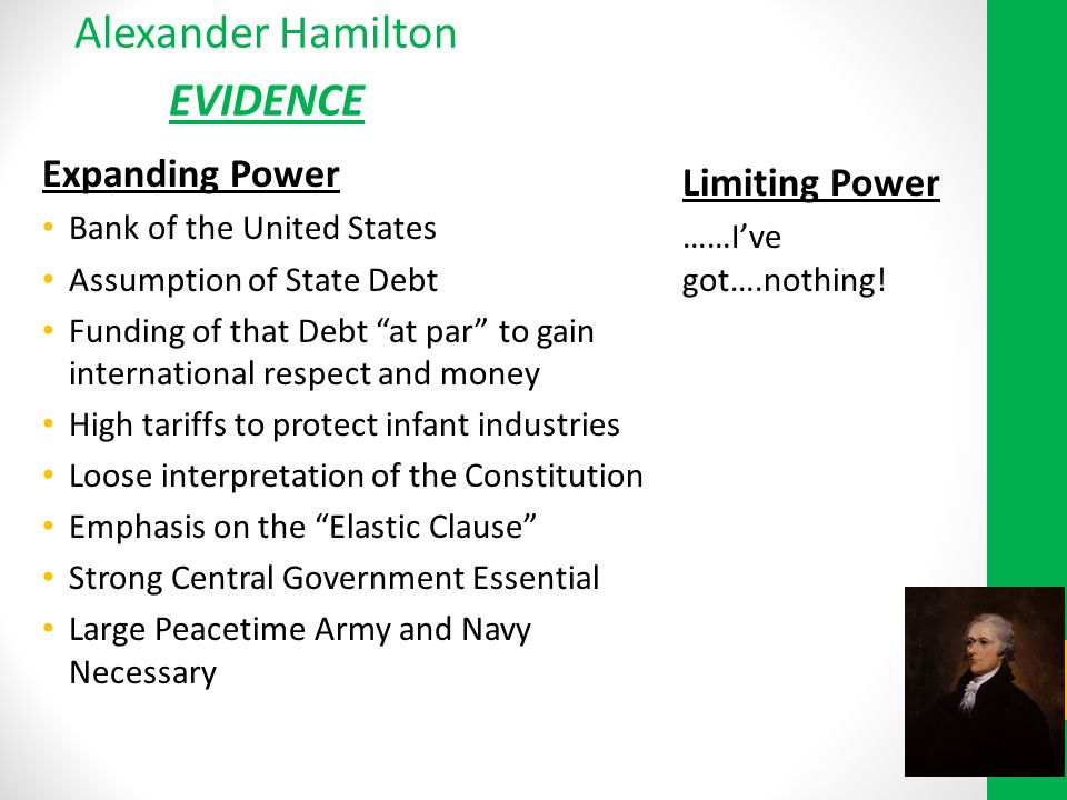 Alexander Hamilton EVIDENCE Expanding Power Limiting Power