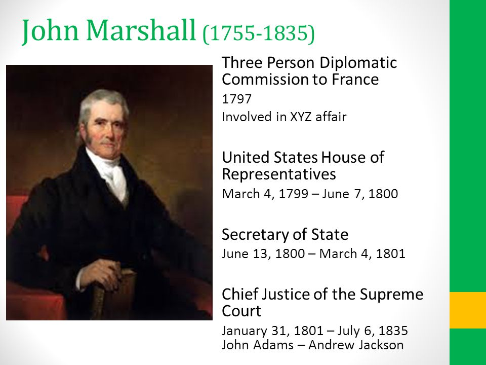 John Marshall (1755-1835) Three Person Diplomatic Commission to France