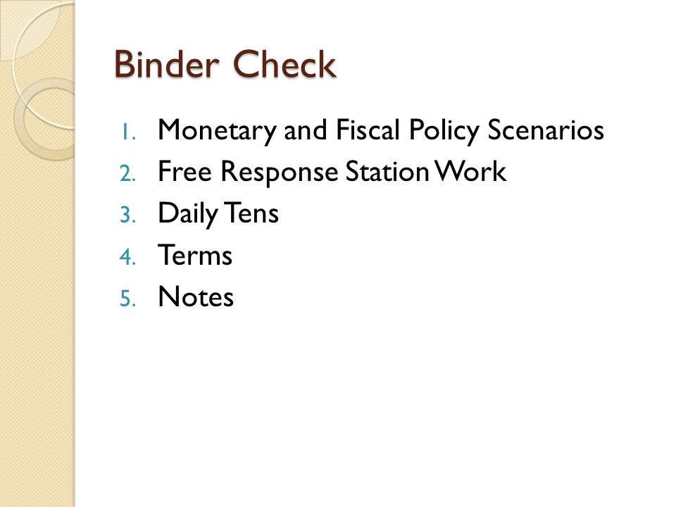 Binder Check Monetary and Fiscal Policy Scenarios