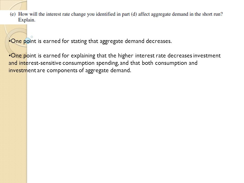 One point is earned for stating that aggregate demand decreases.