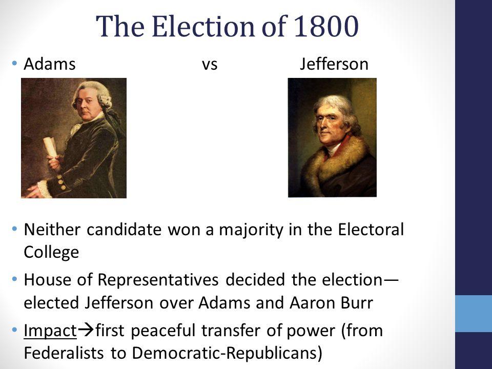The Election of 1800 Adams vs Jefferson