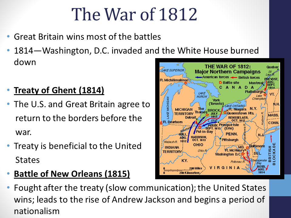 The War of 1812 Great Britain wins most of the battles