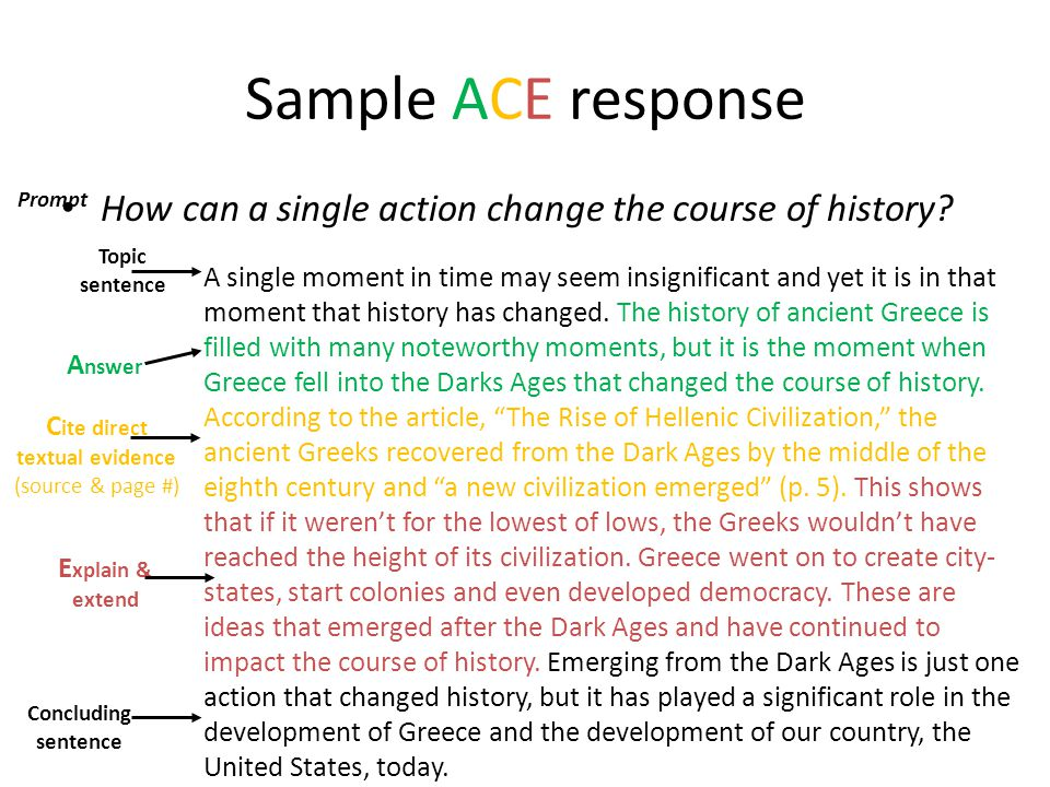 Sample ACE response Prompt. How can a single action change the course of history Topic sentence.