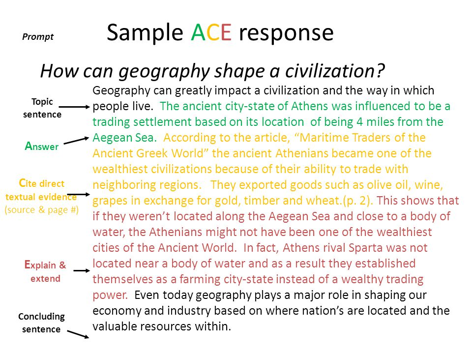 Sample ACE response How can geography shape a civilization