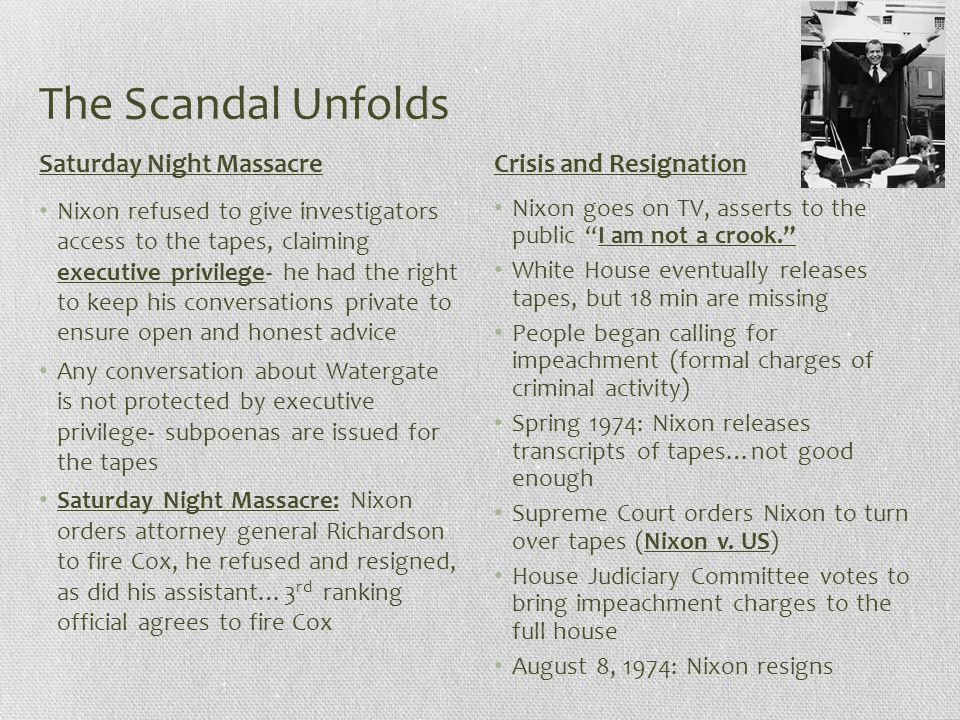 The Scandal Unfolds Saturday Night Massacre Crisis and Resignation
