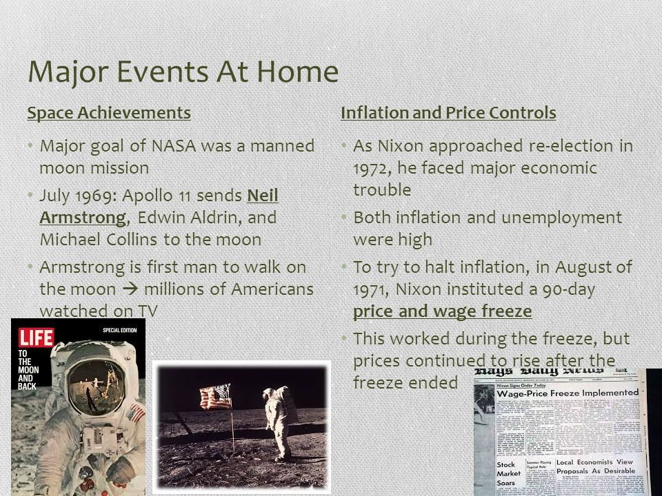 Major Events At Home Space Achievements Inflation and Price Controls