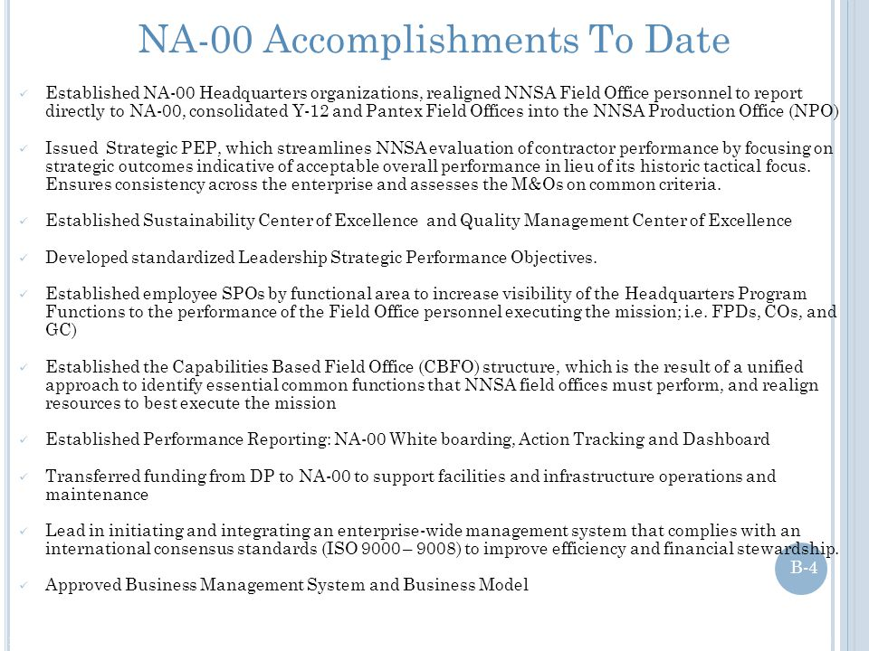 NA-00 Accomplishments To Date