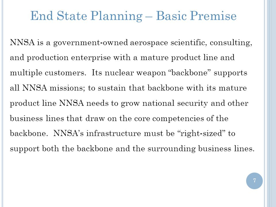 End State Planning – Basic Premise