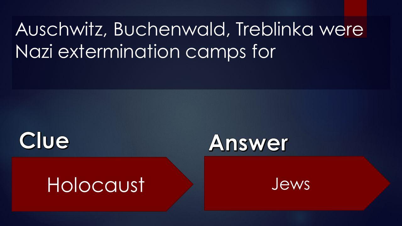 Auschwitz, Buchenwald, Treblinka were Nazi extermination camps for