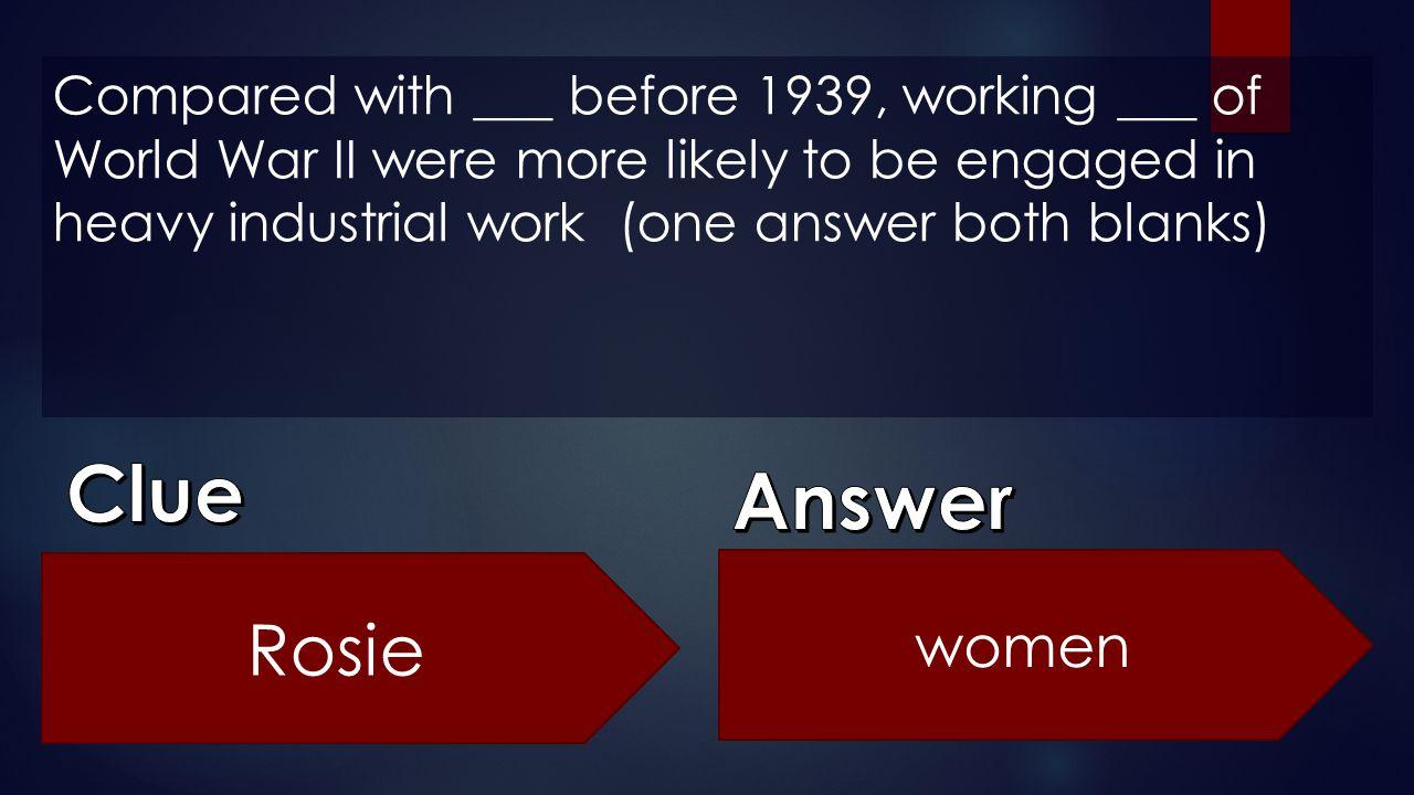Clue Answer Rosie women