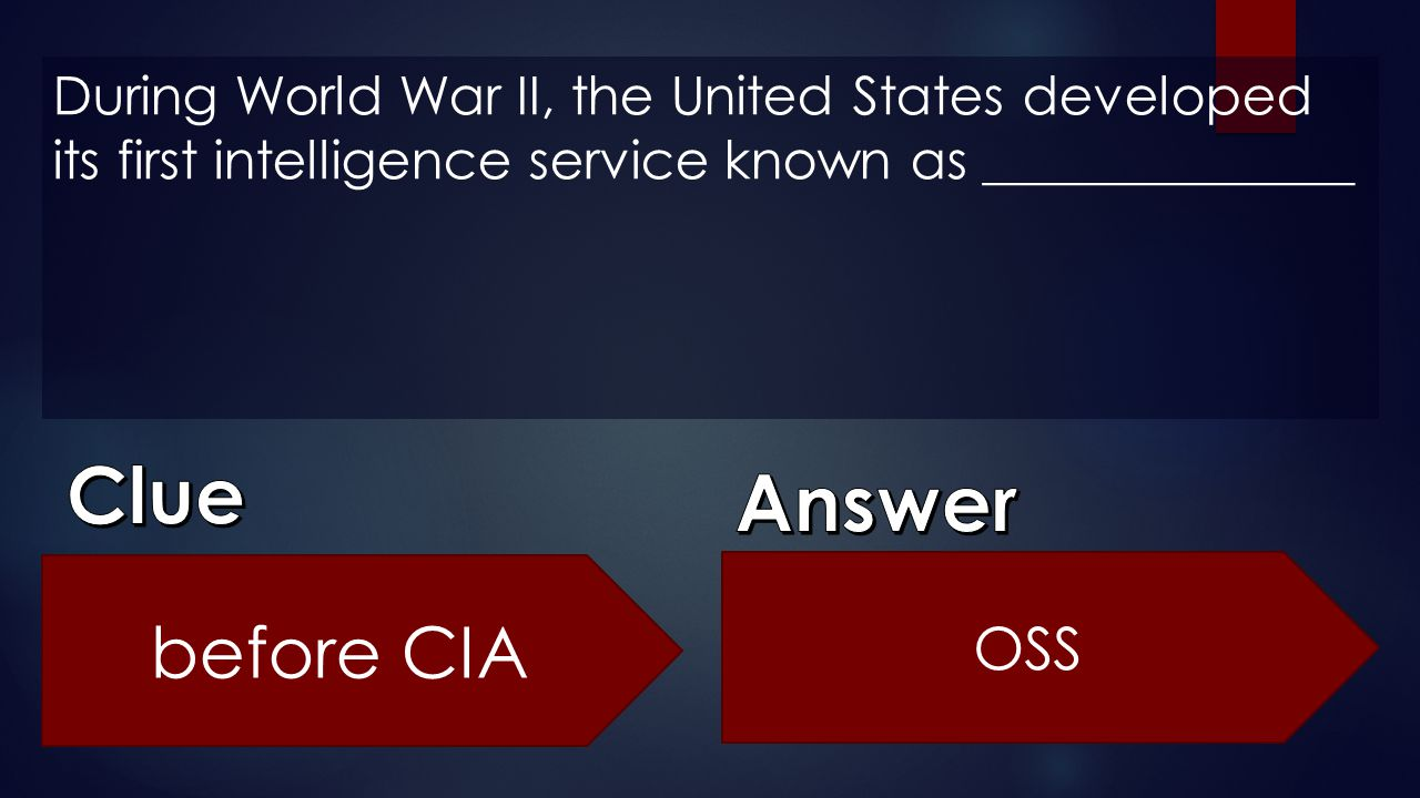 Clue Answer before CIA OSS