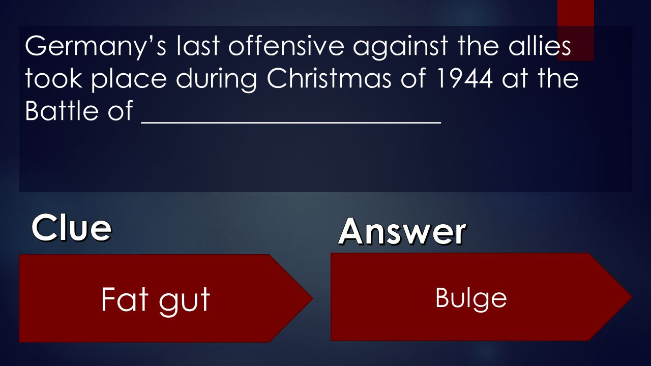 Germany's last offensive against the allies took place during Christmas of 1944 at the Battle of ______________________