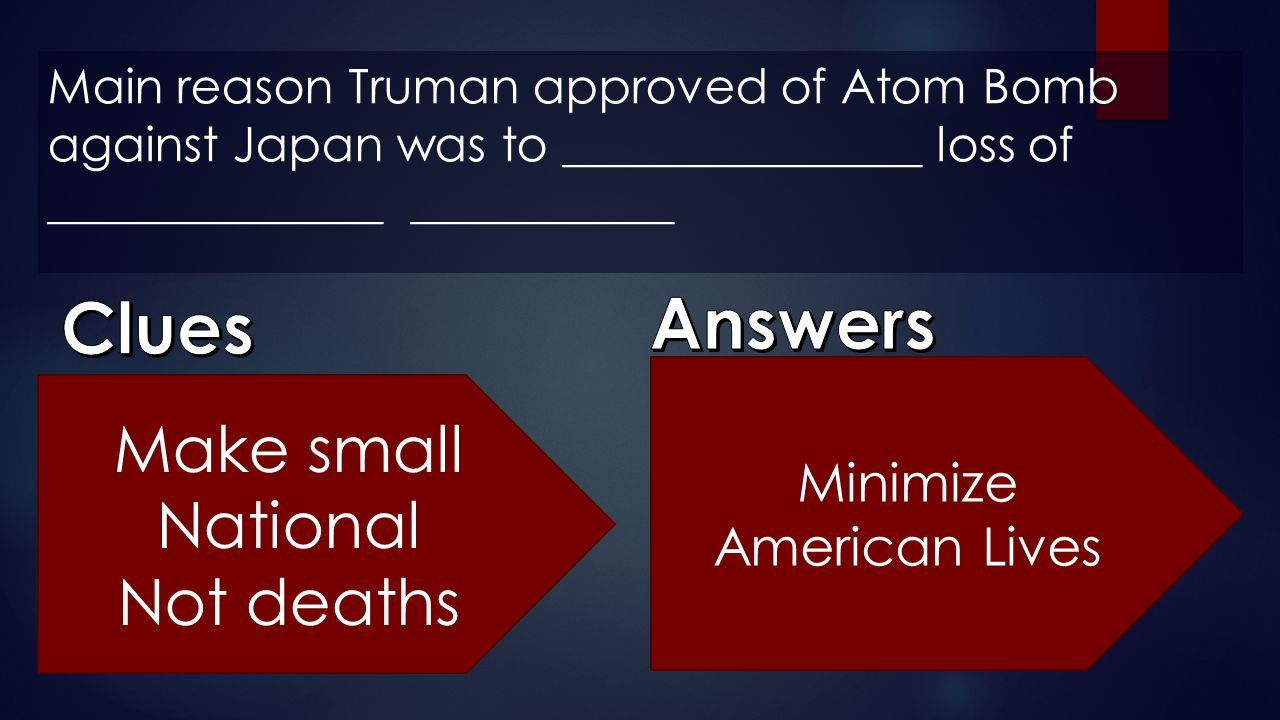 Answers Clues Make small National Not deaths Minimize American Lives