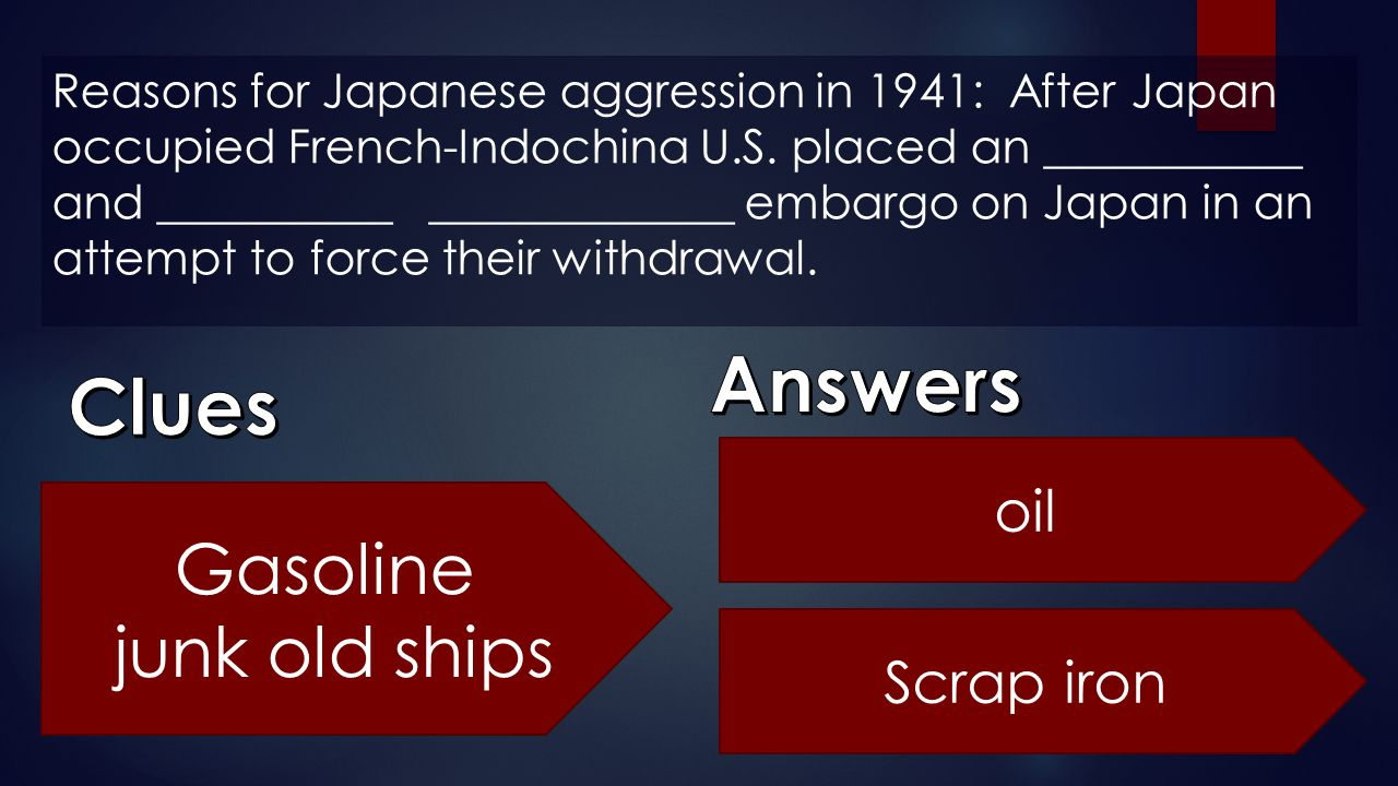 Answers Clues Gasoline junk old ships oil Scrap iron