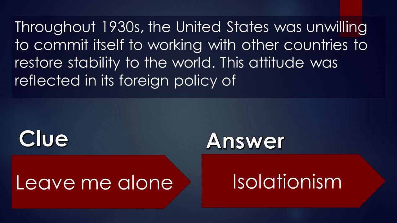 Clue Answer Leave me alone Isolationism