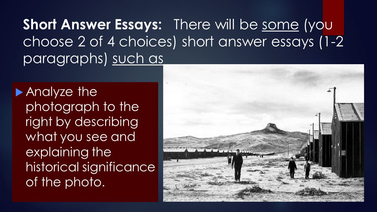 Short Answer Essays: There will be some (you choose 2 of 4 choices) short answer essays (1-2 paragraphs) such as