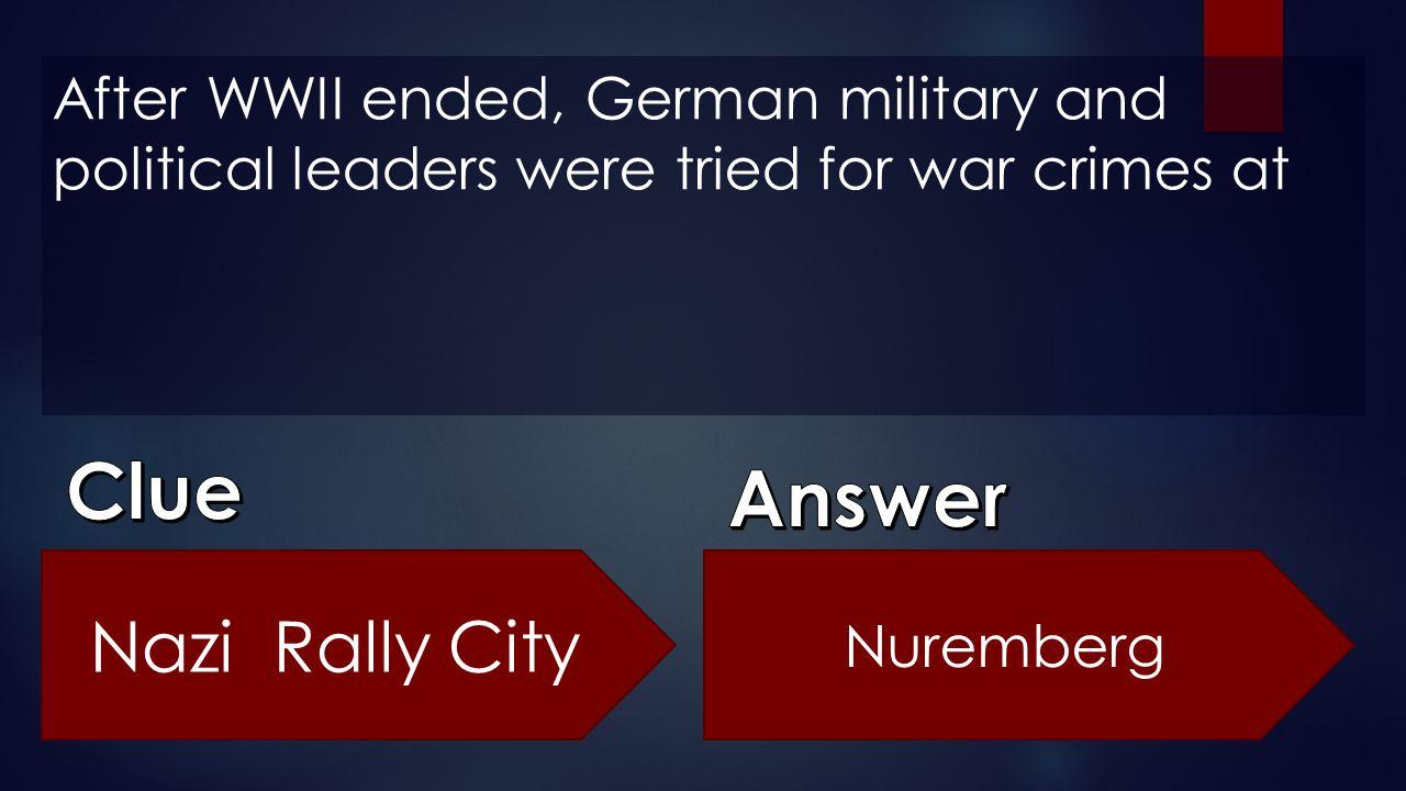Clue Answer Nazi Rally City
