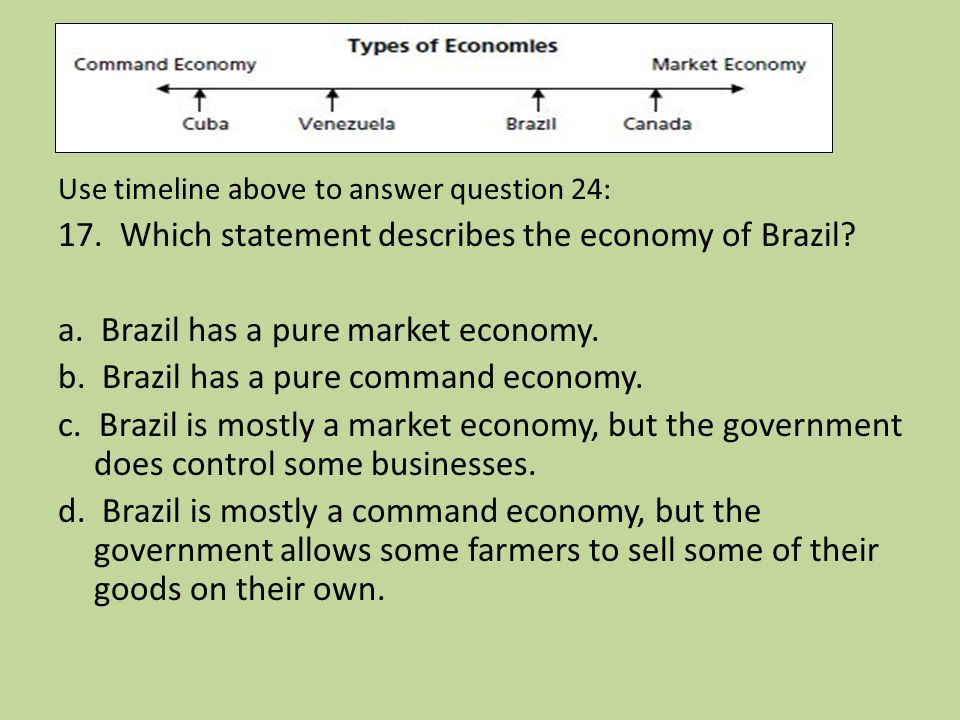 17. Which statement describes the economy of Brazil
