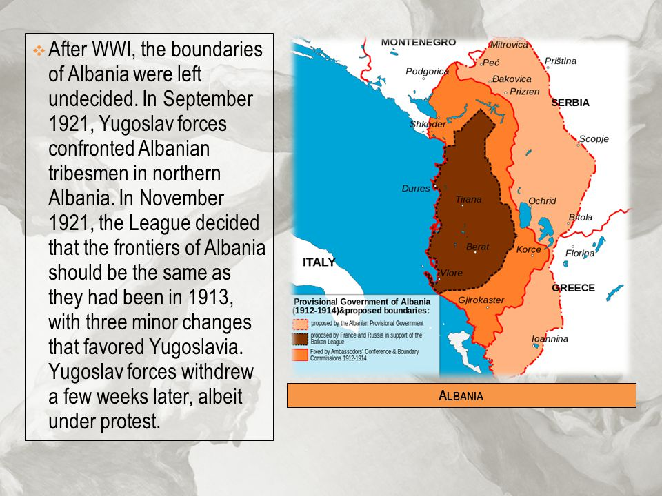 After WWI, the boundaries of Albania were left undecided