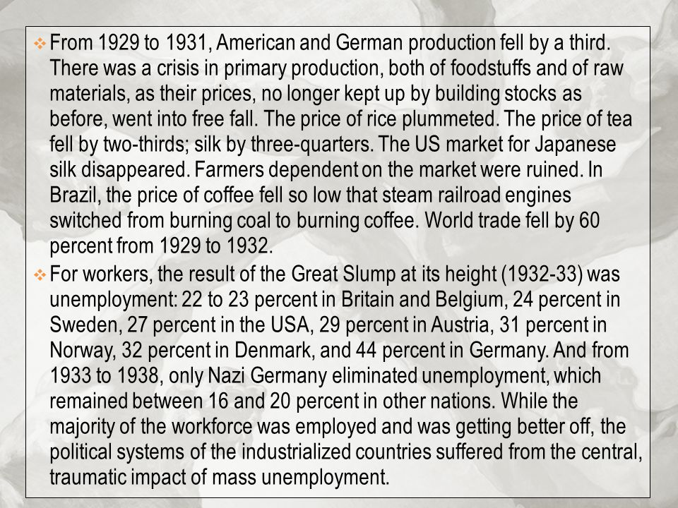 From 1929 to 1931, American and German production fell by a third