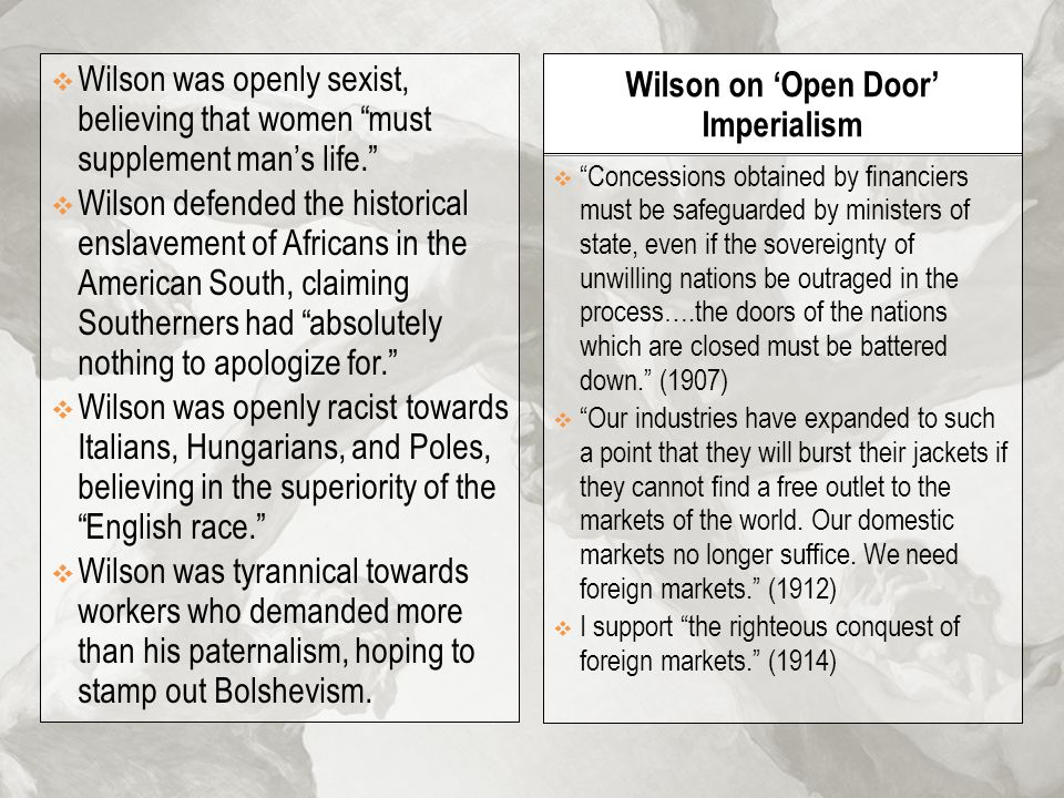 Wilson on 'Open Door' Imperialism