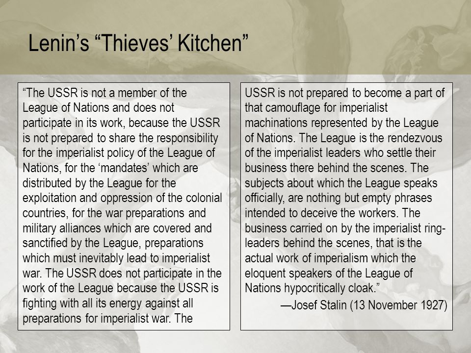 Lenin's Thieves' Kitchen