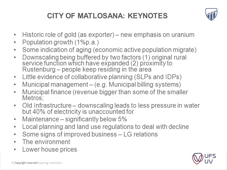 City of matlosana: keynotes