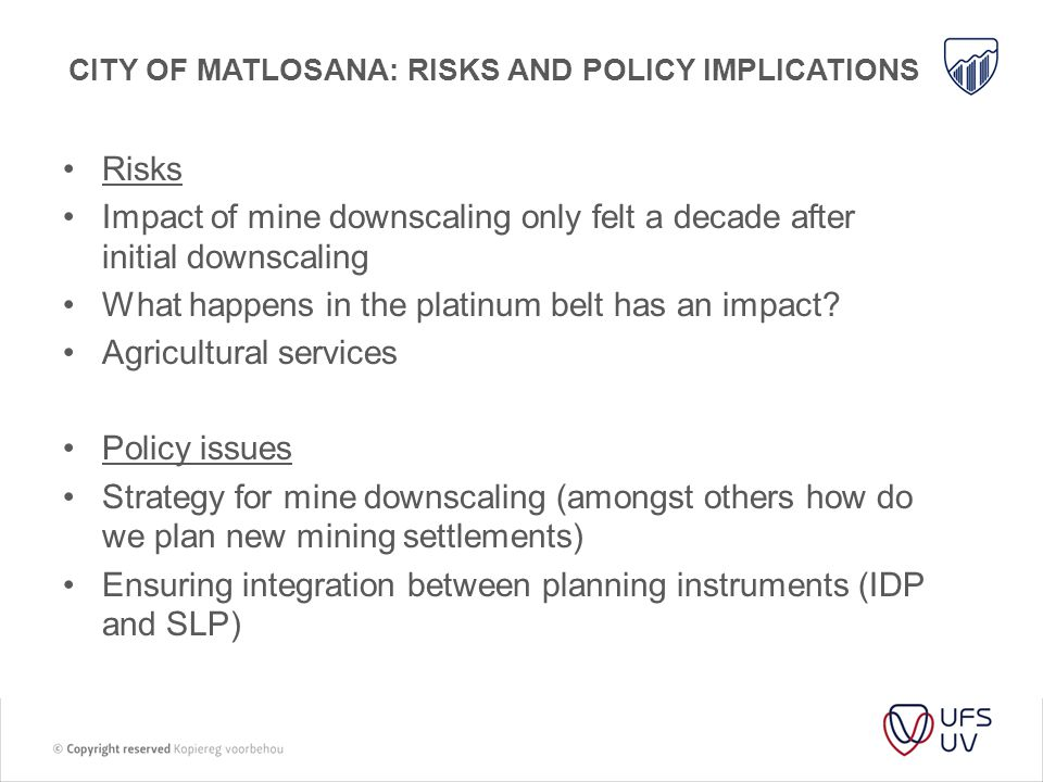 City of matlosana: risks AND POLICY IMPLICATIONS