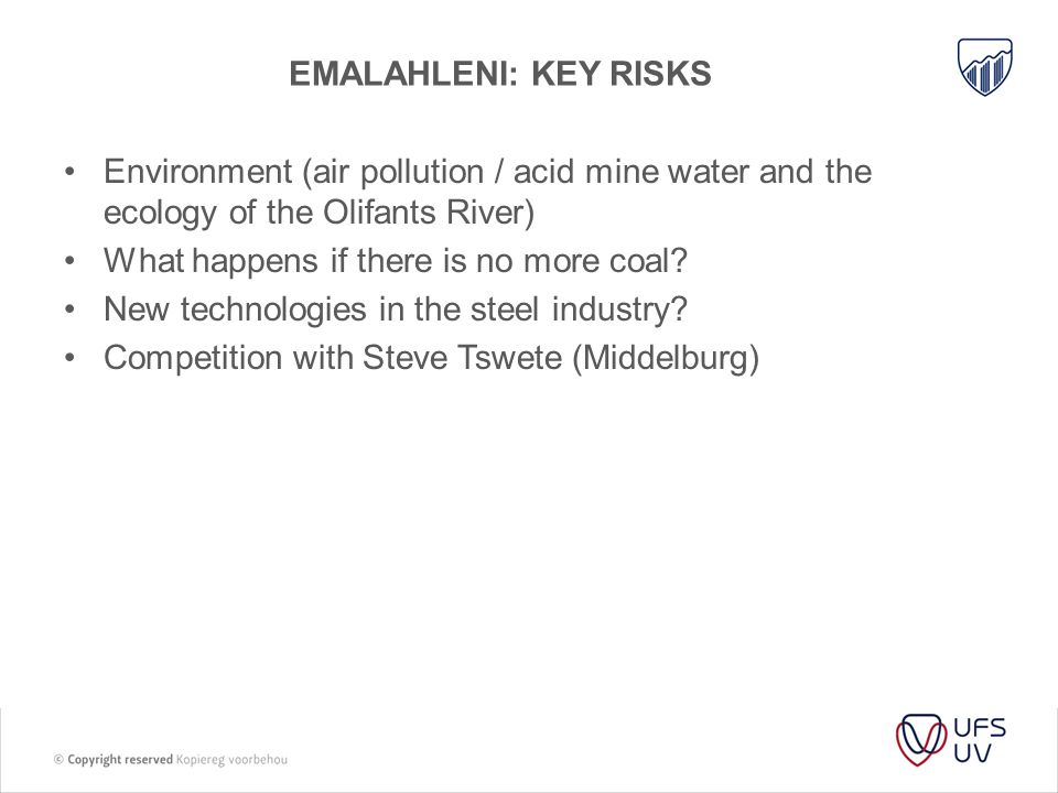 Emalahleni: key risks Environment (air pollution / acid mine water and the ecology of the Olifants River)