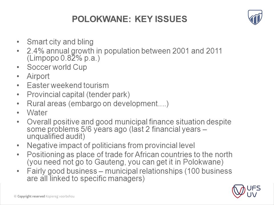 Polokwane: key issues Smart city and bling