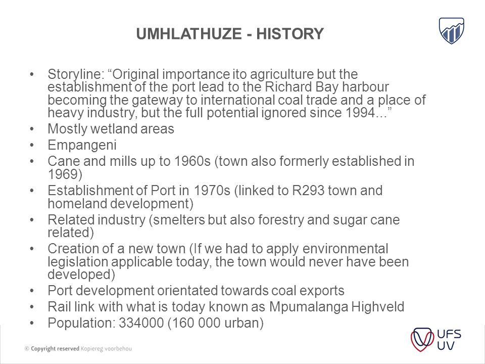 Umhlathuze - history