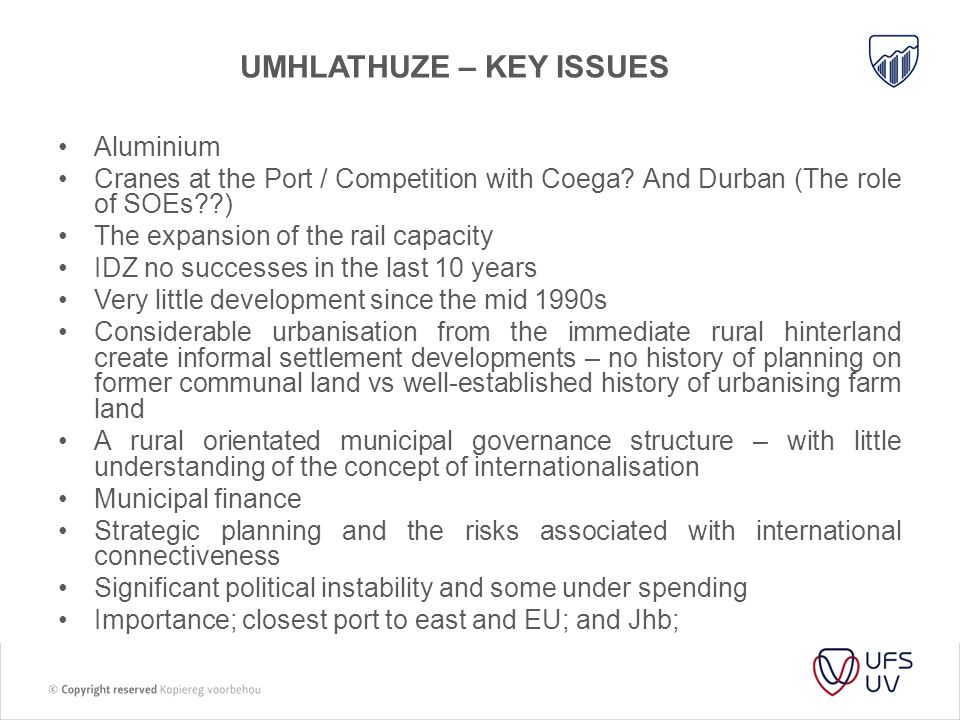 Umhlathuze – key issues