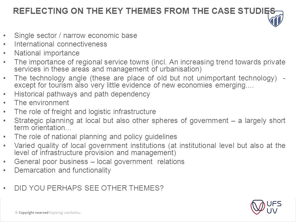 Reflecting on the Key themes from the case studies