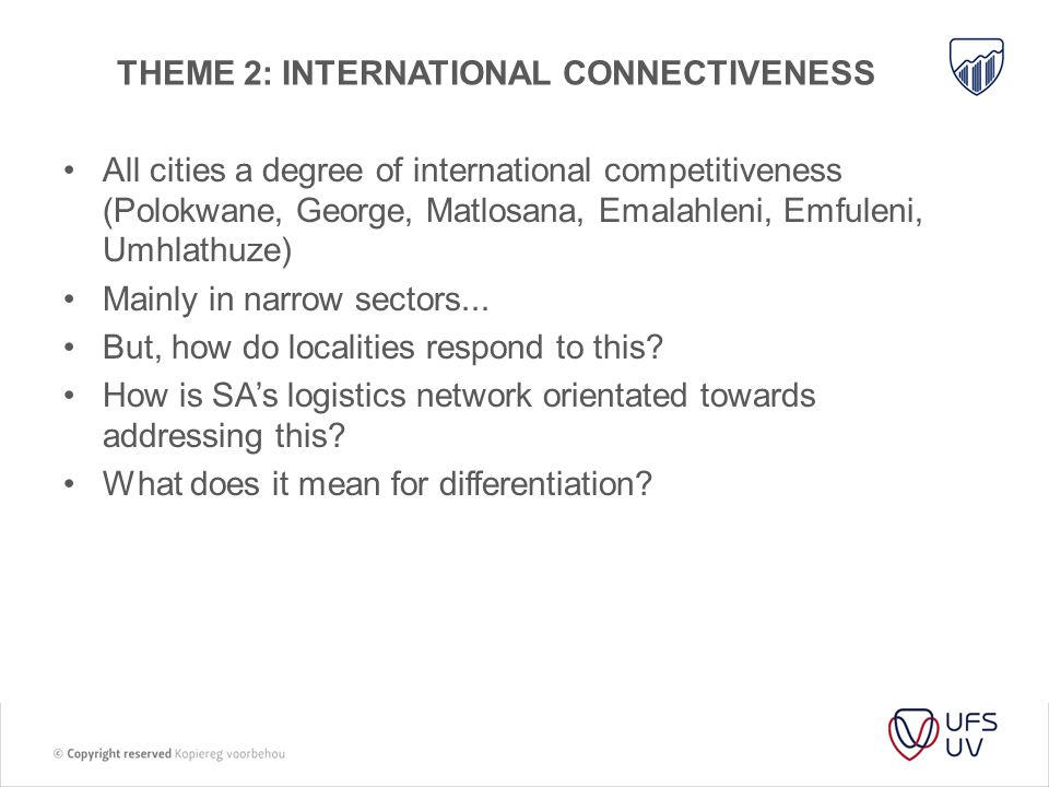 Theme 2: international connectiveness