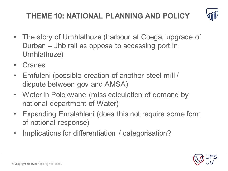THEME 10: National planning and policy