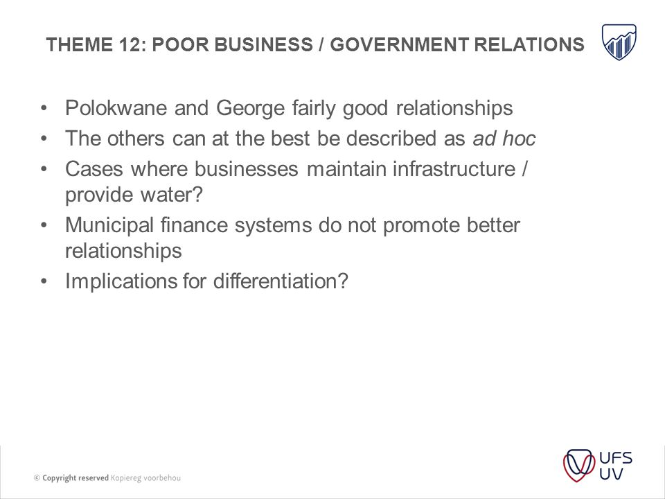 Theme 12: Poor business / government relations