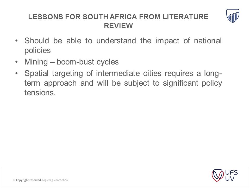 Lessons for south Africa from literature review