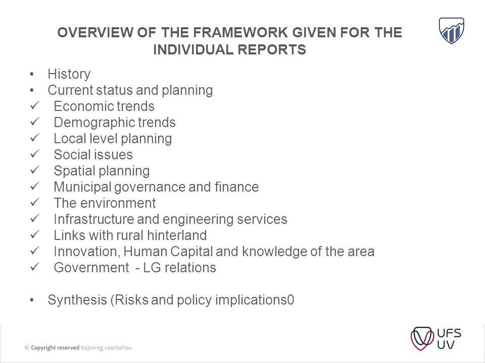 Overview of the framework given for the individual reports